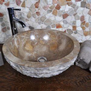 InduStone umywalka kamienna nablatowa KC-M java brown 40 cm (C)