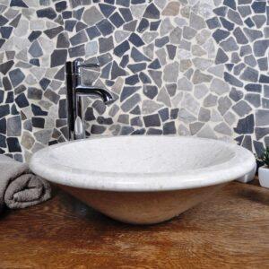 InduStone umywalka kamienna nablatowa KL-P cream