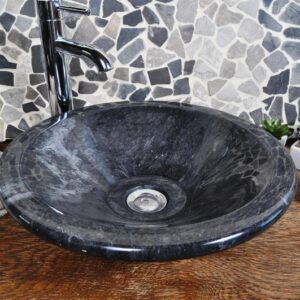 InduStone umywalka kamienna nablatowa KL-P black