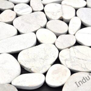 InduStone Mozaika Kamienna na siatce Cutting White Interlock białe cięte otoczaki 30×30