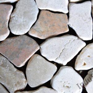 InduStone Mozaika Kamiennana siatce  MIX 3: RED-WHITE-ONYX Interlock czerwono biało onyksowa łamana 30×30