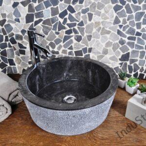 InduStone umywalka kamienna nablatowa LY-D black