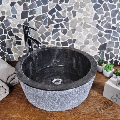InduStone umywalka kamienna nablatowa LY-D black (2)