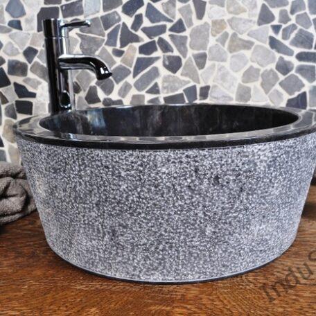 InduStone umywalka kamienna nablatowa LY-D black (4)