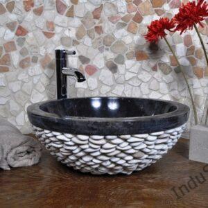InduStone umywalka kamienna nablatowa PABBLE black A