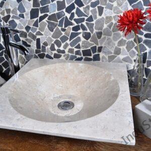 InduStone umywalka kamienna nablatowa SKL-P cream