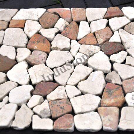 mozaika kamienna industone  biało czerwona