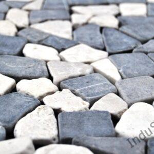 InduStone Mozaika Kamienna na siatce GREY & WHITE SQUARE szaro biała łamana 30×30