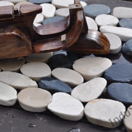 InduStone mozaika kamienna CUTTING MIX Interlock biało czarno beżowa otoczaki cięte dekor 30 x 10 cm (1)