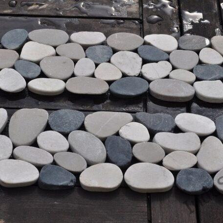 InduStone mozaika kamienna CUTTING MIX Interlock biało czarno beżowa otoczaki cięte dekor 30 x 10 cm (2)