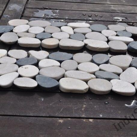 InduStone mozaika kamienna CUTTING MIX Interlock biało czarno beżowa otoczaki cięte dekor 30 x 10 cm (3)