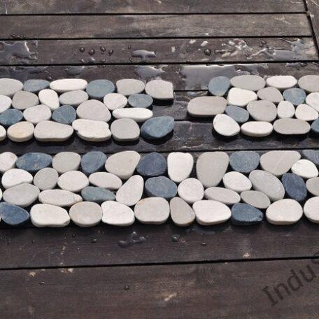 InduStone mozaika kamienna CUTTING MIX Interlock biało czarno beżowa otoczaki cięte dekor 30 x 10 cm (5)
