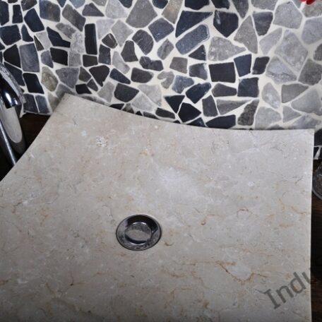InduStone umywalka kamienna KWADRATOWA BEIGE A (1)