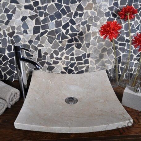 InduStone umywalka kamienna KWADRATOWA BEIGE A (7)