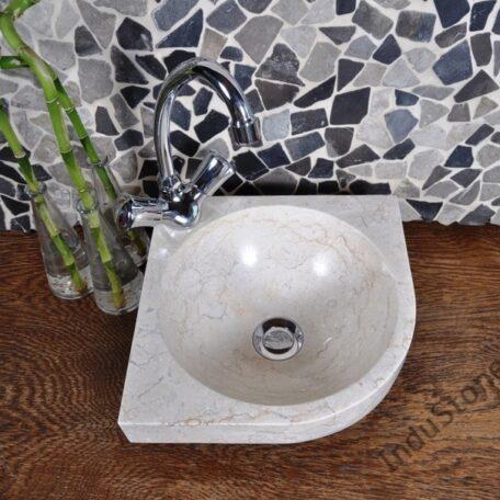 InduStone umywalka nablatowa kamienna FB-P CORNER cream 30 cm (2)