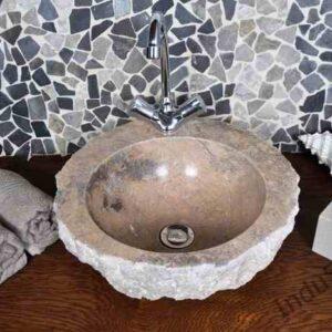 InduStone kamienna umywalka nablatowa KC-FMA brown A, otwór na armaturę