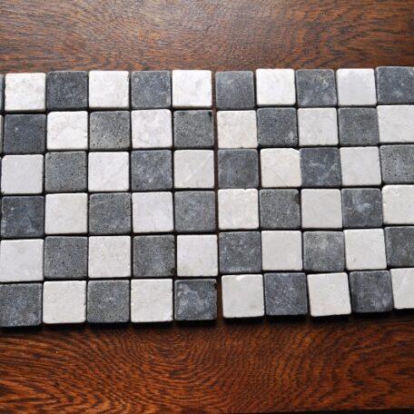 INDUSTONE MOZAIKA KAMIENNA WHITEBLACK SQUARE BIAŁO CZARNA KOSTKA 30×30 (1)