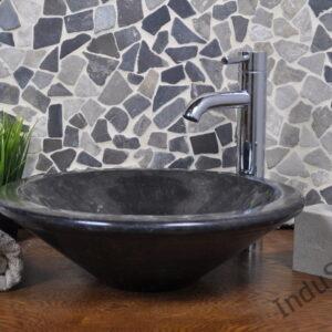 InduStone umywalka kamienna nablatowa LOTUS black A