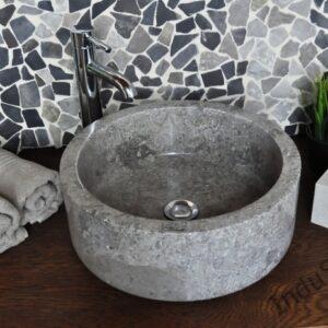 InduStone umywalka kamienna nablatowa SILINDER GREY 40×15