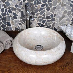 InduStone umywalka kamienna nablatowa DN-P cream B 40 cm NEW!