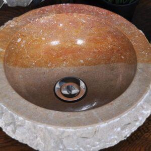 InduStone umywalka kamienna nablatowa KC-FMA red A 30 x 12 cm
