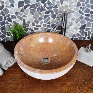 InduStone umywalka kamienna nablatowa KC-G RED