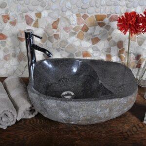 InduStone umywalka kamienna nablatowa z podestem RIVER STONE Kamień Rzeczny RSYY 30-40 (D)