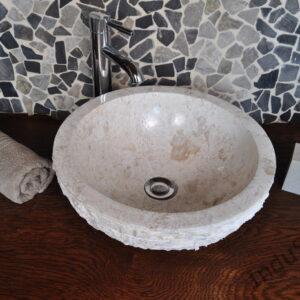 InduStone umywalka kamienna nablatowa KCK-M cream 40 cm I