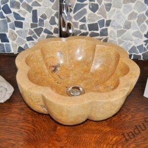 InduStone umywalka kamienna nablatowa LB-P Flower RED B