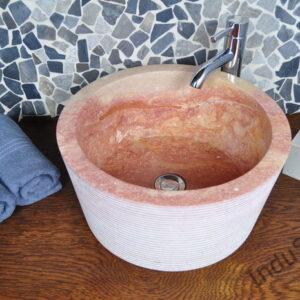 InduStone umywalka kamienna nablatowa LY-C RED 40 cm A