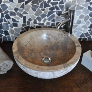 InduStone umywalka kamienna nablatowa KC-D brown C