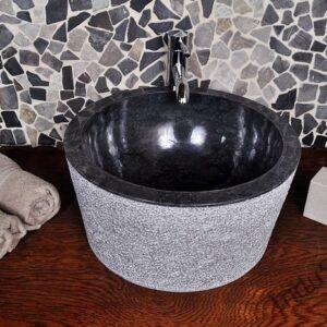 InduStone umywalka kamienna nablatowa LYC-D Black B