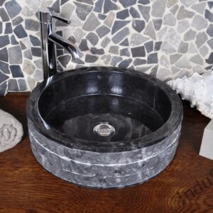 InduStone umywalka kamienna nablatowa SL-M black C