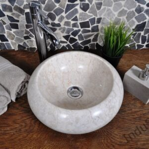 InduStone kamienna umywalka nablatowa DN-P cream 35 cm C