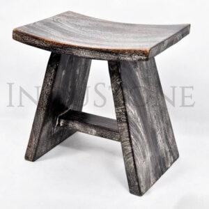 InduStone CZARNY TABORET/SIEDZISKO z drewna egzotycznego