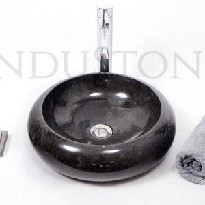 InduStone kamienna umywalka nablatowa DN-P BLACK B 40 cm