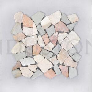 InduStone Mozaika kamienna MIX 4: Soft Green-White-Red-Onyx INTERLOCK
