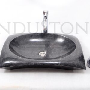 InduStone kamienna umywalka nablatowa RCTK-P BLACK B 60×40 cm