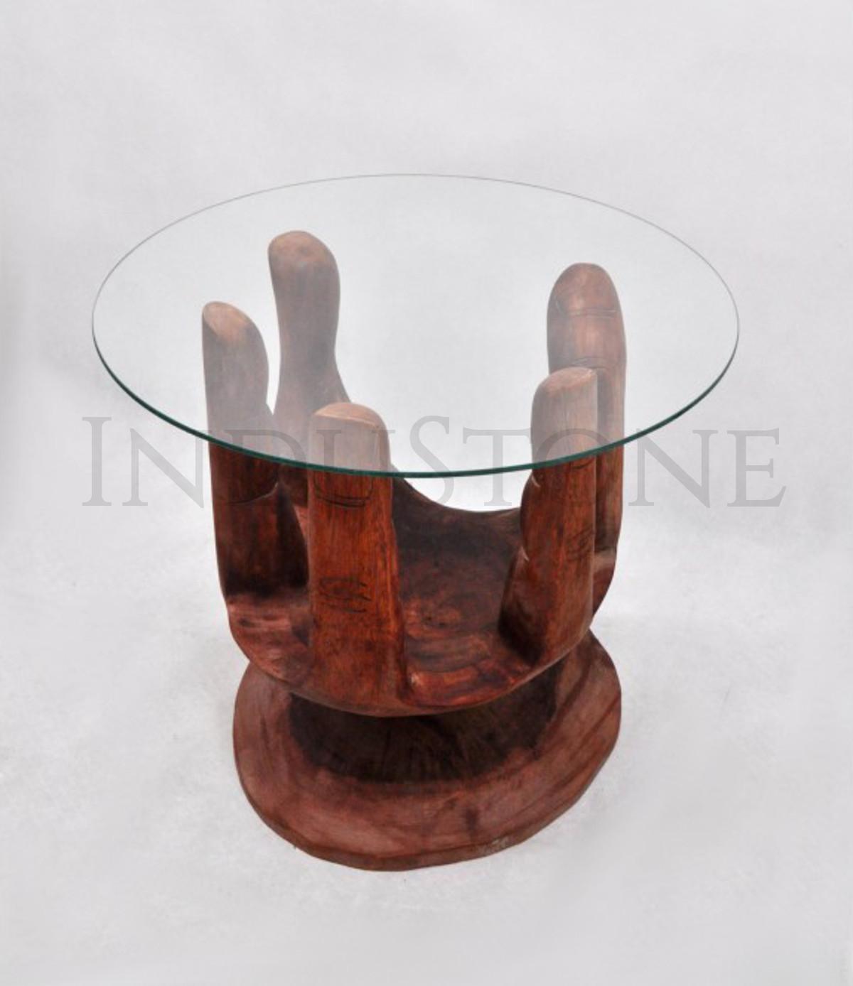 Industone Stolik Ręka A Z Drewna Egzotycznego Ze Szklanym