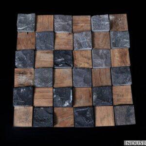 INDUSTONE WOOD & GREY STONE 5×5 szara KOSTKA mozaika kamienna