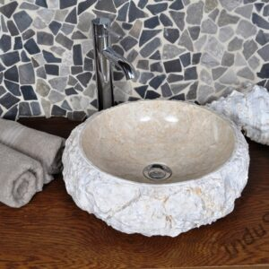 InduStone umywalka kamienna nablatowa DN-FM cream C