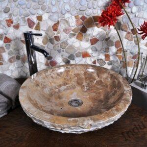 InduStone umywalka kamienna nablatowa KC-M java brown 45 cm A