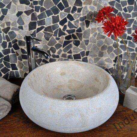 InduStone umywalka kamienna nablatowa DN-G Cream B (2)