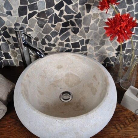 InduStone umywalka kamienna nablatowa DN-G Cream B (5)
