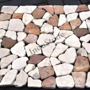 InduStone Mozaika Kamienna na siatce WHITE & RED SQUARE biało czerwona łamana 30×30