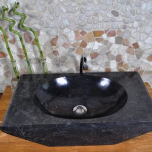 InduStone umywalka kamienna nablatowa ROV-P Black A