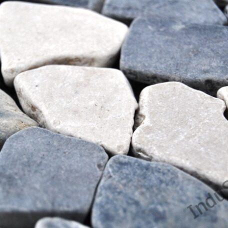 InduStone Mozaika Kamienna GREY & WHITE SQUARE szaro biała łamana 30×30  (3)