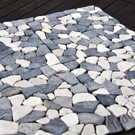 InduStone Mozaika Kamienna GREY & WHITE SQUARE szaro biała łamana 30×30  (4)
