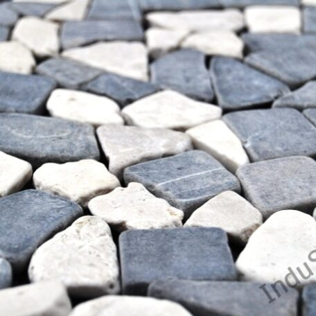 InduStone Mozaika Kamienna GREY & WHITE SQUARE szaro biała łamana 30×30  (5)