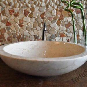 InduStone umywalka kamienna nablatowa KC-P cream 45 cm A